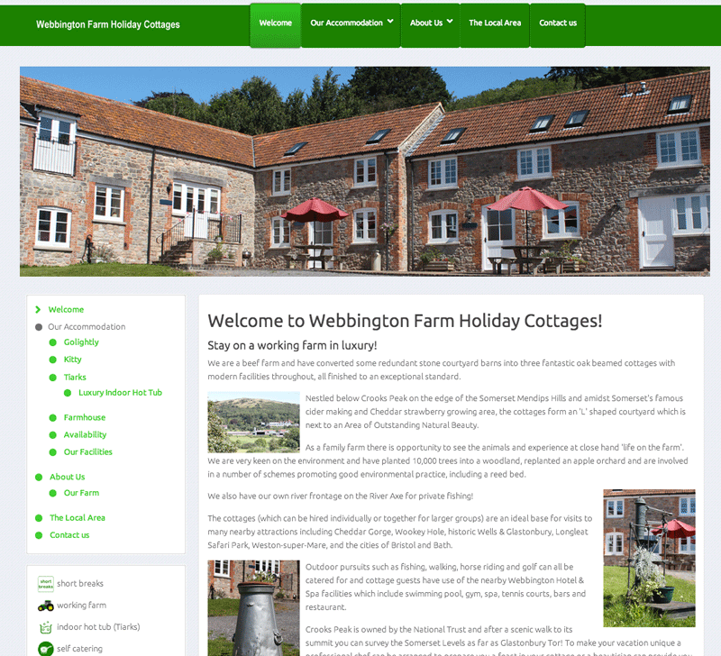 Webbington Farm website